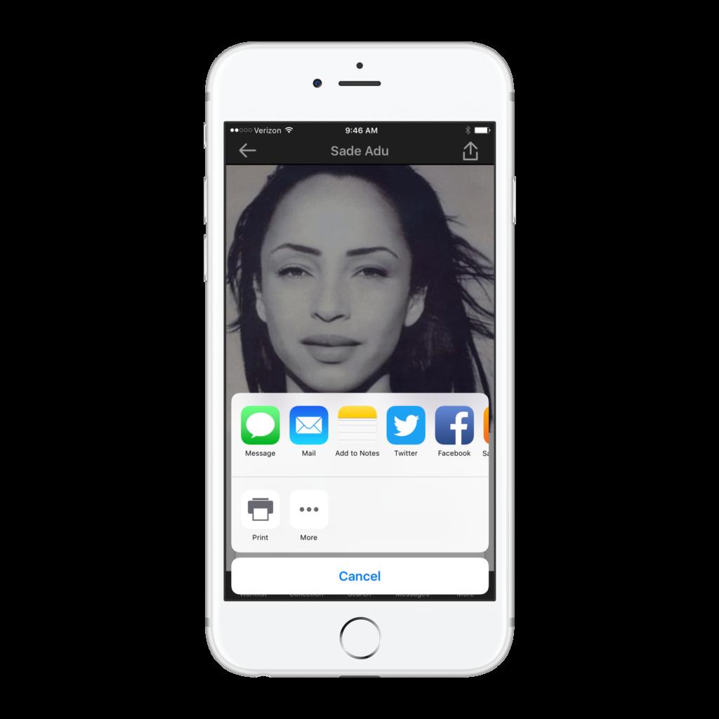 Share Artist SADE discogs app