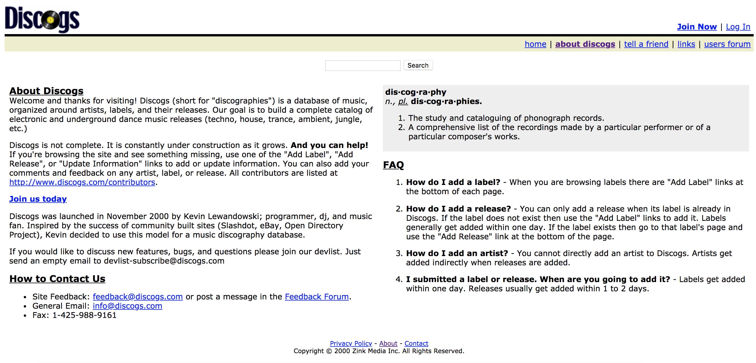 screenshot of discogs homepage circa 2001