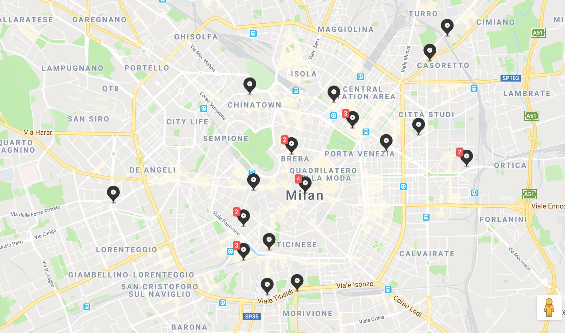Mappa dei negozi di dischi a Milano, Italia.
