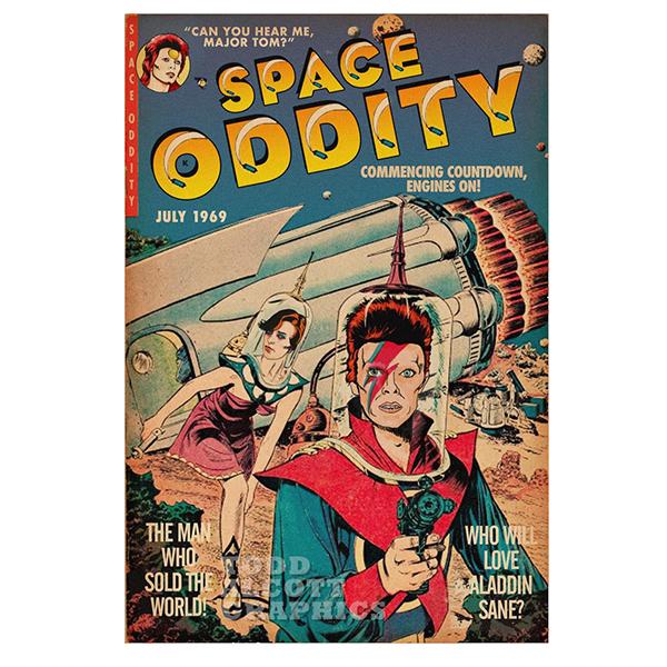 Tod Alcott David Bowie Space Oddity Sci-Fi Comic Book Mashup Art Print