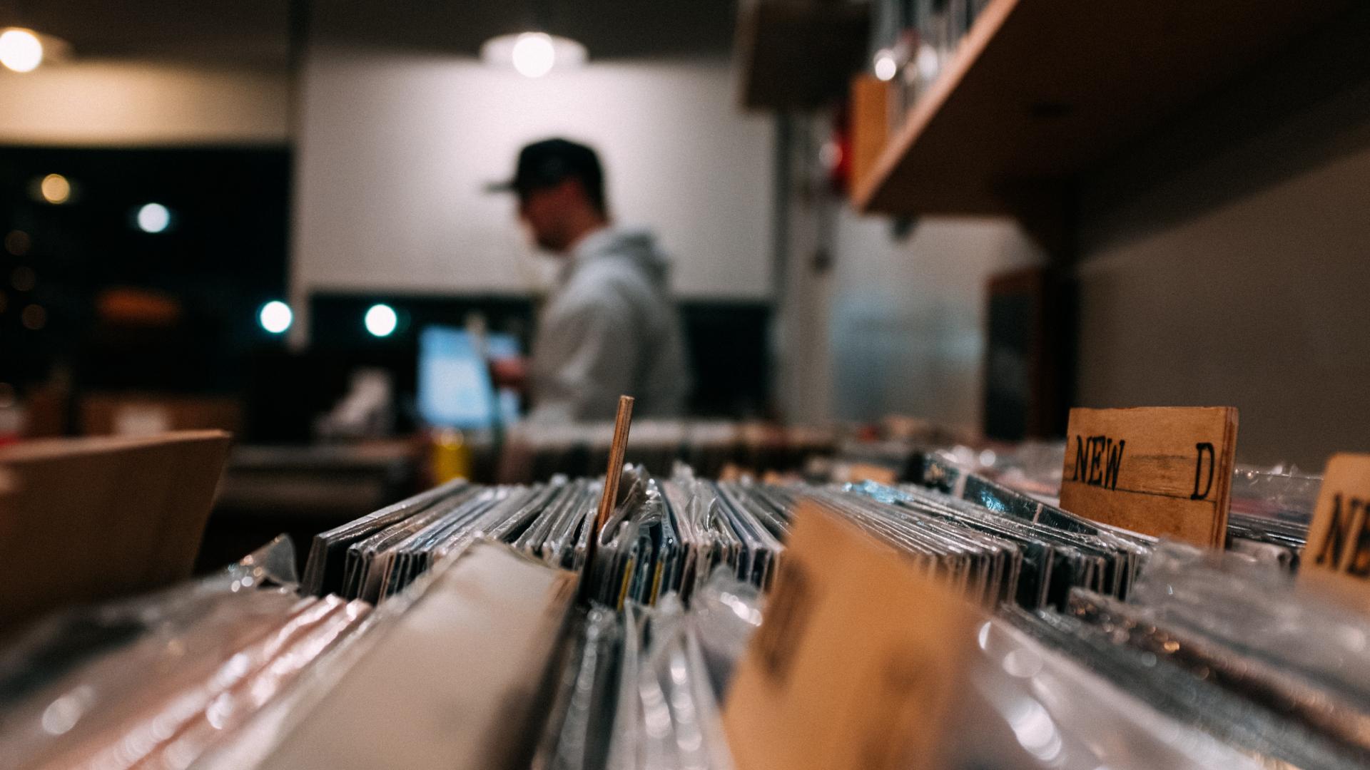 record store vinyl organization close-up