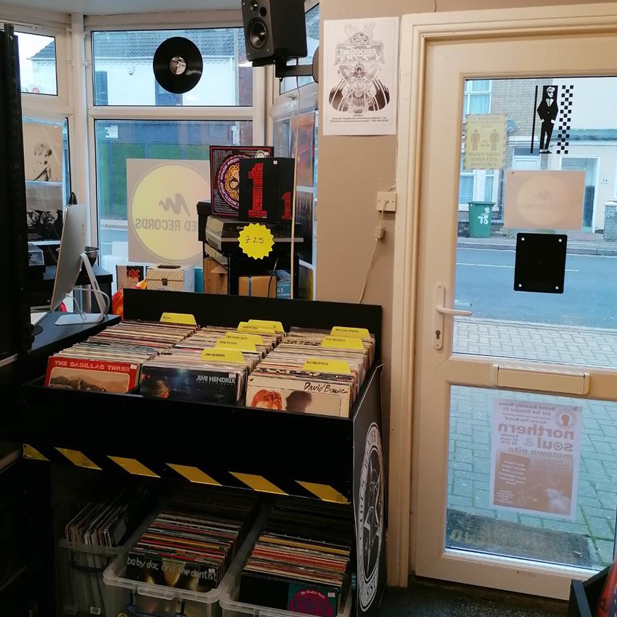 wired records store door